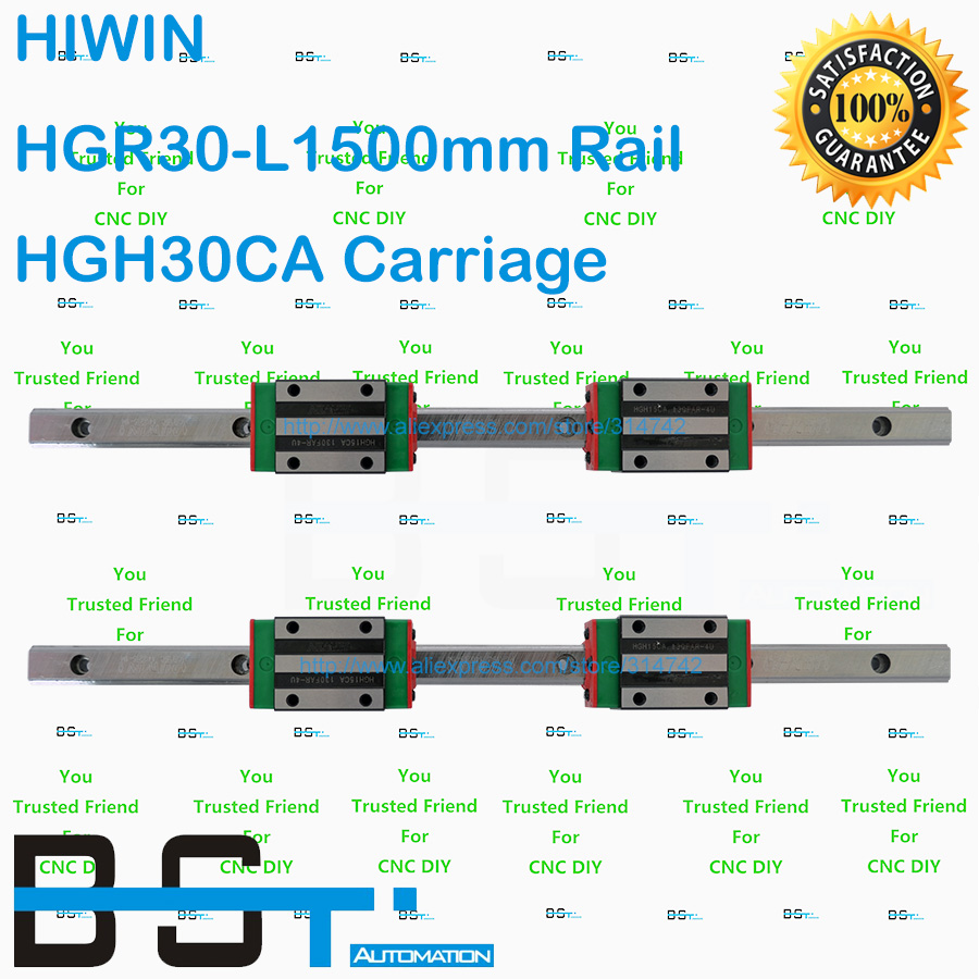 Original HIWIN Linear Guide 30mm 4pcs HGR30 L1500mm Linear guideway with 8pcs HGH30CA Narrow Linear Block