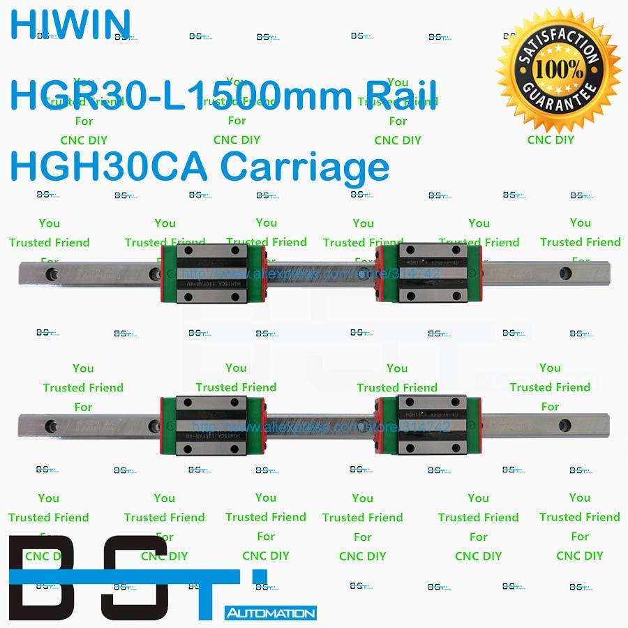 Original HIWIN Linear Guide 30mm 4pcs HGR30 L1500mm Linear guideway with 8pcs HGH30CA Narrow Linear Block