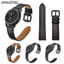 22mm Esporte Leather Strap para Samsung Engrenagem S3 S 3 Fronteira/Classic pulseira banda 22mm pulso bandas substituição da correia De Couro Real