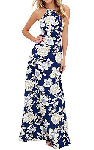 2017 Womens Halter Backless Maxi Dress Navy Blue With White Flower
