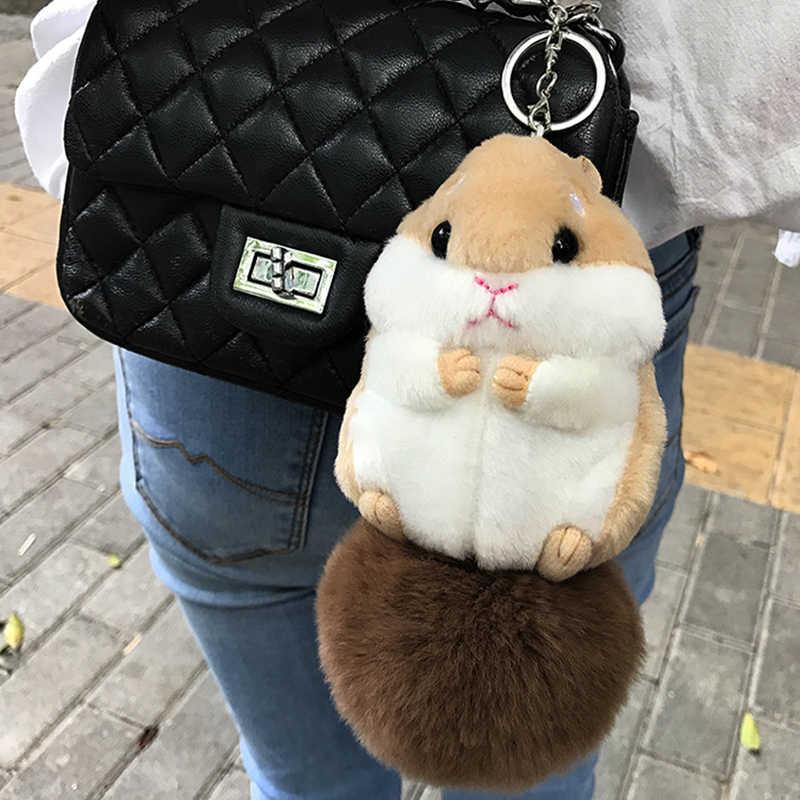 2017 Chaveiros trinket Mini Hamster Pom Pom Mulheres Coelho fofo Hamster Brinquedo Boneca Monstro Saco Anel Chave Do Carro Chaveiro Jóias presente
