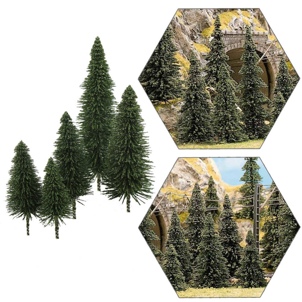 S0804 40pcs Miniature Scenery Model Pine Trees Deep Green Pines For HO O N Z Scale Model Railway Layout