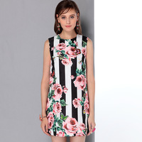 2017 New European Pretty White And Black Patchwork Print Mini Floral Dress High Quality Above Knee