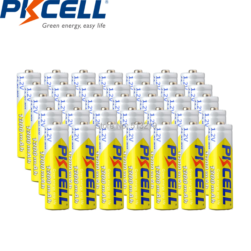 35PCS PKCELL NIMH AA rechargeable battery 1300mah 1.2v battery for digital Camera, flashlight image