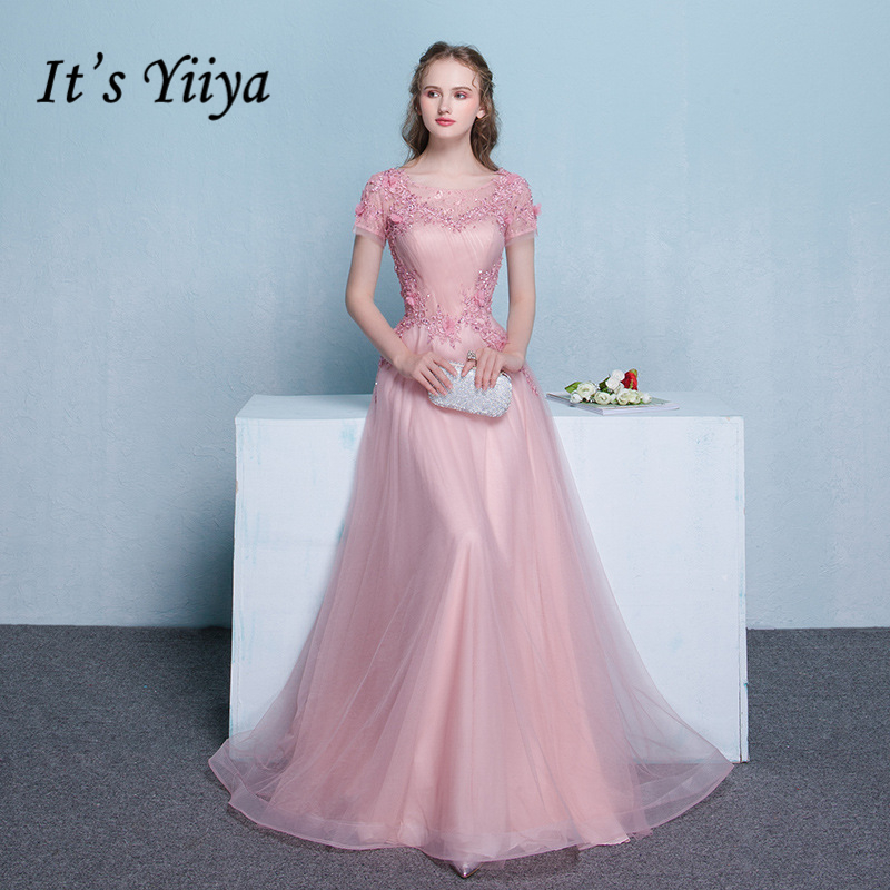 It's Yiiya 2018 O-Neck Short Sleeve   Evening     Dresses   Fashion High Quality Bling Crytal Tulle Flowers Formal   Dress   LX335