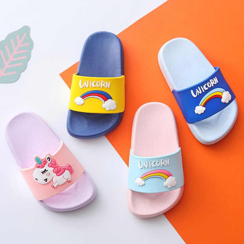 Eenhoorn Slippers voor Jongen Meisje Regenboog Schoenen 2019 Zomer Peuter Animal Kids Indoor Baby Slippers PVC Cartoon Kinderen Slippers