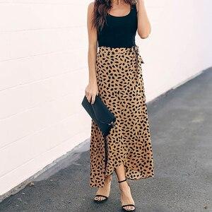 Image 2 - Surmiitro jupe longue imprimée à pois, jupe dété féminine, noire et blanche, fendue, taille haute, ligne a, mode 2020