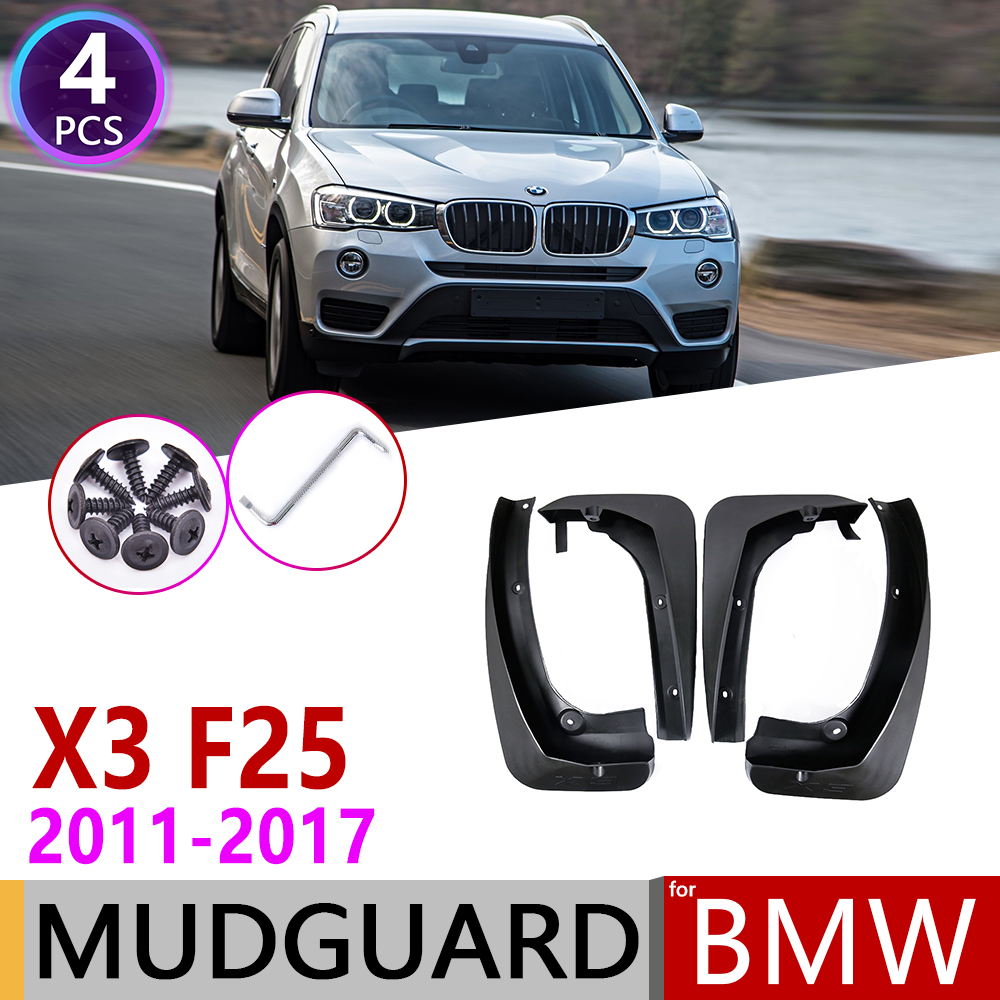 4 PCS For <font><b>BMW</b></font> <font><b>X3</b></font> F25 2011~<font><b>2017</b></font> Front Rear Car Fender Mud Guard Flaps Splash Flap Mudguards <font><b>Accessories</b></font> 2012 2013 2014 2015 2016 image