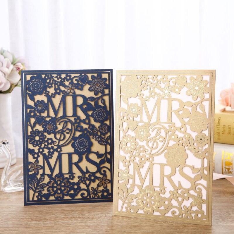 50pcs Blue Gold Laser Cut Wedding Invitations Card Mr Mrs Elegant