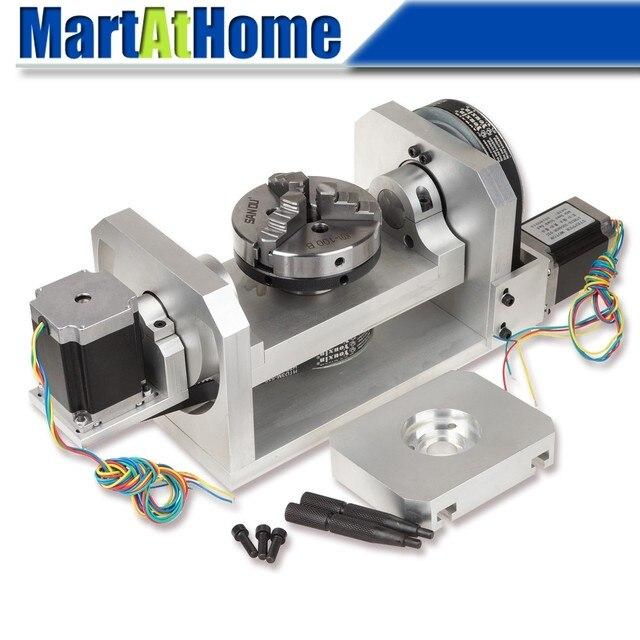 CNC נתב מכונת רוטרי שולחן 4th & 5th סיבובי ציר עם צ אק & 57 2 שלב 250 oz  ב מנוע צעד