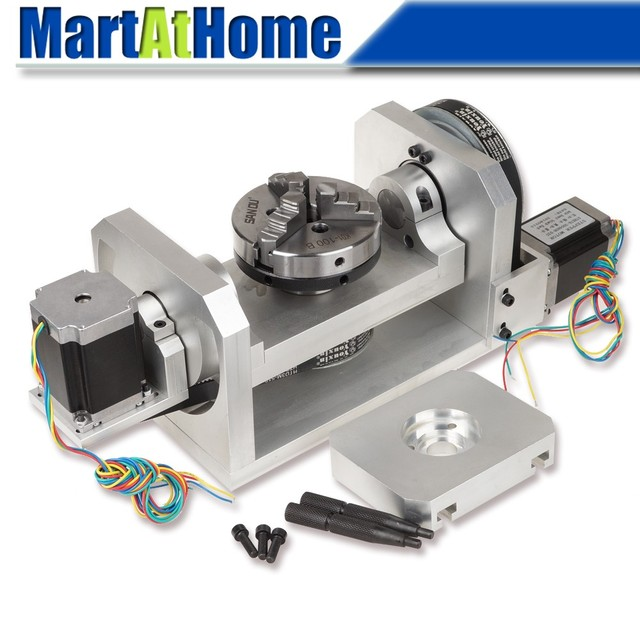 CNC Router Machine Rotary Table 4th & 5th Rotational Axis with Chuck & 57 2 Phase 250 oz in Stepper Motor