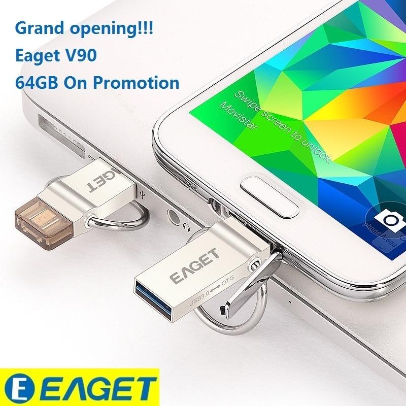 Best Pendrive EAGET V90 OTG 16GB 32GB 64GB Usb Memory Stick Flash Pen Drive OTG Pendrive