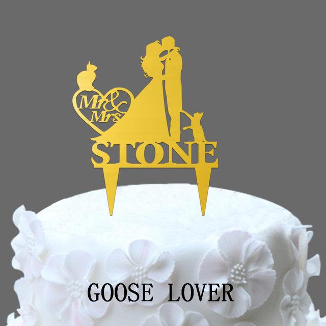 Online Shop Custom Name Wedding Cake Topper Bride And Groom ...