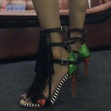 2016 Gladiator Echtes Leder Sandale Schuhe Vor Quaste Knöchel Riemchen Top Qualität Sandale Offene spitze Stripped High Heel Sandale Frauen