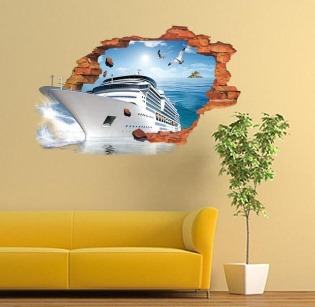 3D Broken Wall Steamship Stickers Decorative Creative Removable Wall ...