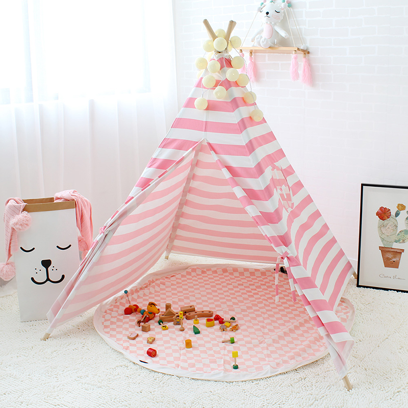Children's Tent Cotton Canvas Pink Stripes Play Tent For Kids Teepee Playhouse For Princess Tipi Toys For Christmas Gifts hot sale eco friendly tent for kids cotton canvas toys tent