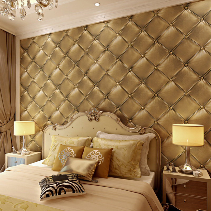 Luxury European Style 3D Stereo Leather Wallpaper Bedroom Bedside Living Room TV Background Wallpaper KTV Home Decor Wall Papers 3d custom wallpaper european style abstract woods simple living room bedroom tv background wall murals wall papers home decor