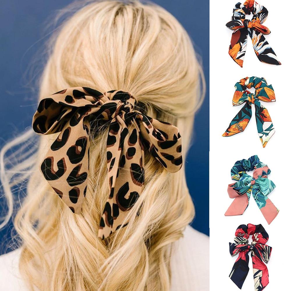 Women Fashion Print Ribbon Hair Scrunchies Ponytail Holder Elastic Hair Bands Hair Rope Ring   Headwear   Hair Accessories