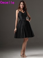 Vintage Black Short Bridesmaid Dresses With Spaghetti Straps Knee Length Informal Country Western Rustic Wedding Party
