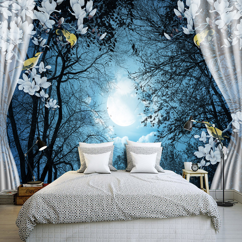 3D Wall Mural Wall Paper Natural Scenery Peaceful Night Forest Moon Custom 3D Room Landscape Photo Wallpaper Window View Bedroom