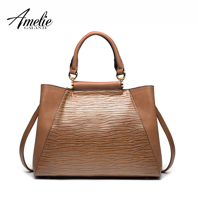 AMELIE GALANTI Women's Handbag Crossbody Bags Vintage Shoulder Bag with Zipper Special lizardstripe Pattern Style amelie galanti ms backpack fashion convenient large capacity now the most popular style can be shoulder to shoulder many colors
