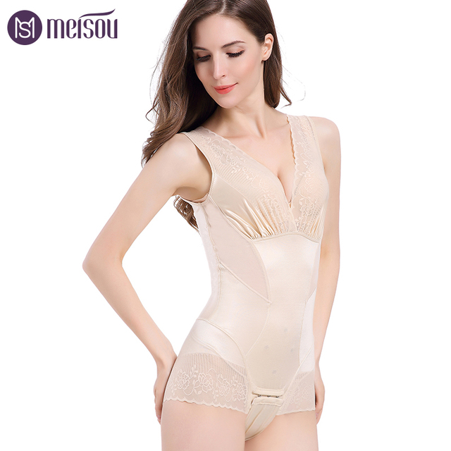 Meisou Women Post Surgery Body Shaper Compression Wasit Cincher Overbust  Pads Seamless Bodysuits Straps Powernet Waist Trainer aa2f8e8db