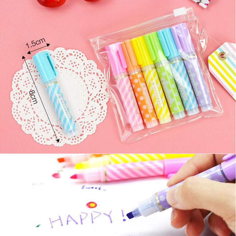 6 pcs Cute Mini Highlighter Pen Set Colors Kawaii Permanent Markers Stationery For Kids Graffiti Drawing School Students