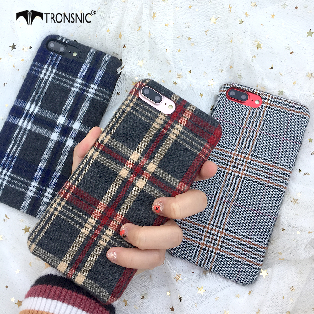 Galleria fotografica Tronsnic Fashion Phone Case For iPhone 6 6S Plus 7 8 Plus Lovely Plaid Red Case Soft Coque for iPhone X Retro Luxury Back Covers