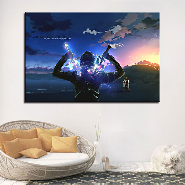 Canvas Paintings Home Decor HD Prints Poster 1 Piece/Pcs Sword Art Online Kirito Anime Pictures Living Room Wall Art Framework 2
