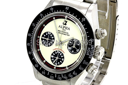 Ivory dial mechanical chronograph watch