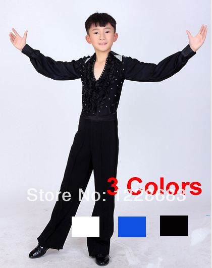 Free Shipping Boy Latin Dancewear Clothes Ruffly Ballroom Stage Modern Boys Latin Dance Costumes