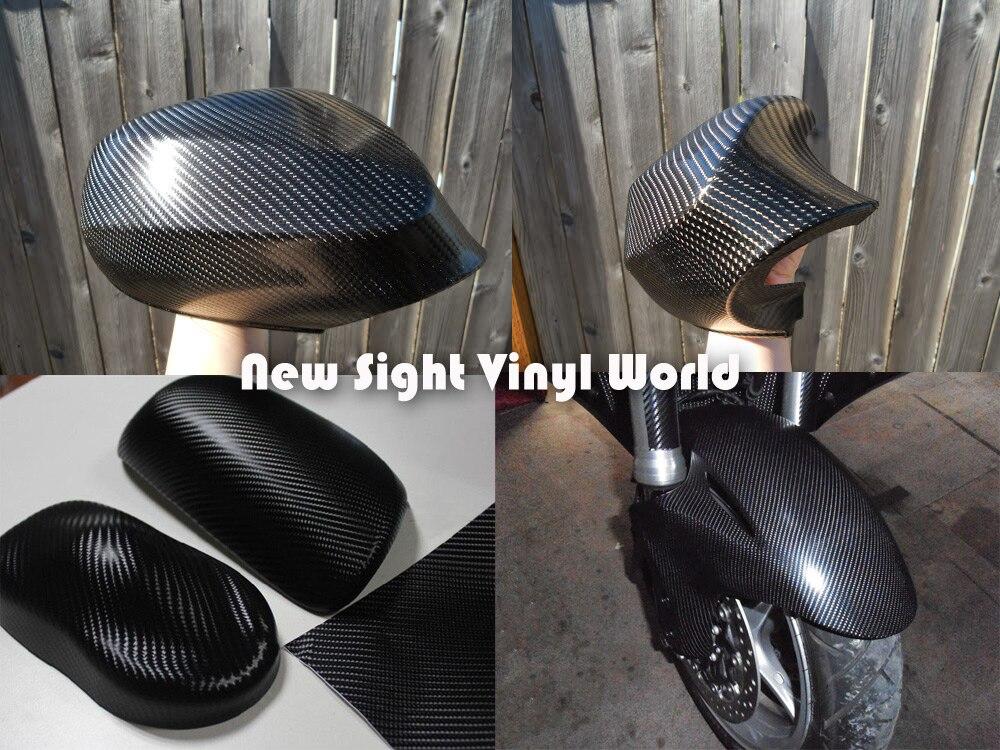 Excellente qualité noir 4D fibre de carbone vinyle pellicule de film sans bulle pour voiture autocollants taille: 1.52*30 m/Roll - 6