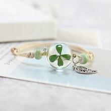 Pulseira feminina boho vintage lucky, bracelete com pingente de cristal, bola de vidro, fecho multicamada, corda com trevo flor flor