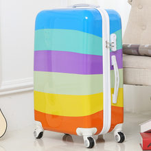 Women Rainbow Stripes Color Block Suitcase Spinner 8 Wheels Superior Luggage for Girls Zipper Color Rolling Trunk 20/22/24/26 In(China)