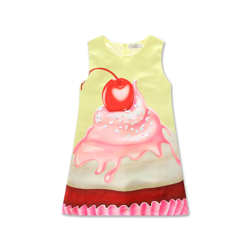 New Summer Cherry Cake Printed A-Line Dress For Baby Girl Yellow Cotton Lolita Sleeveless Dress For Birthday Party Girl 4-8 Y