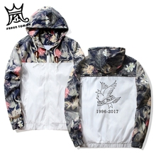Frdun Tommy Lil Peep Sad Hooded Jackets Windbreaker Men Jackets Coats Sweatshirt Men Hip Hop Zipper Lightweight Jackets Bomber