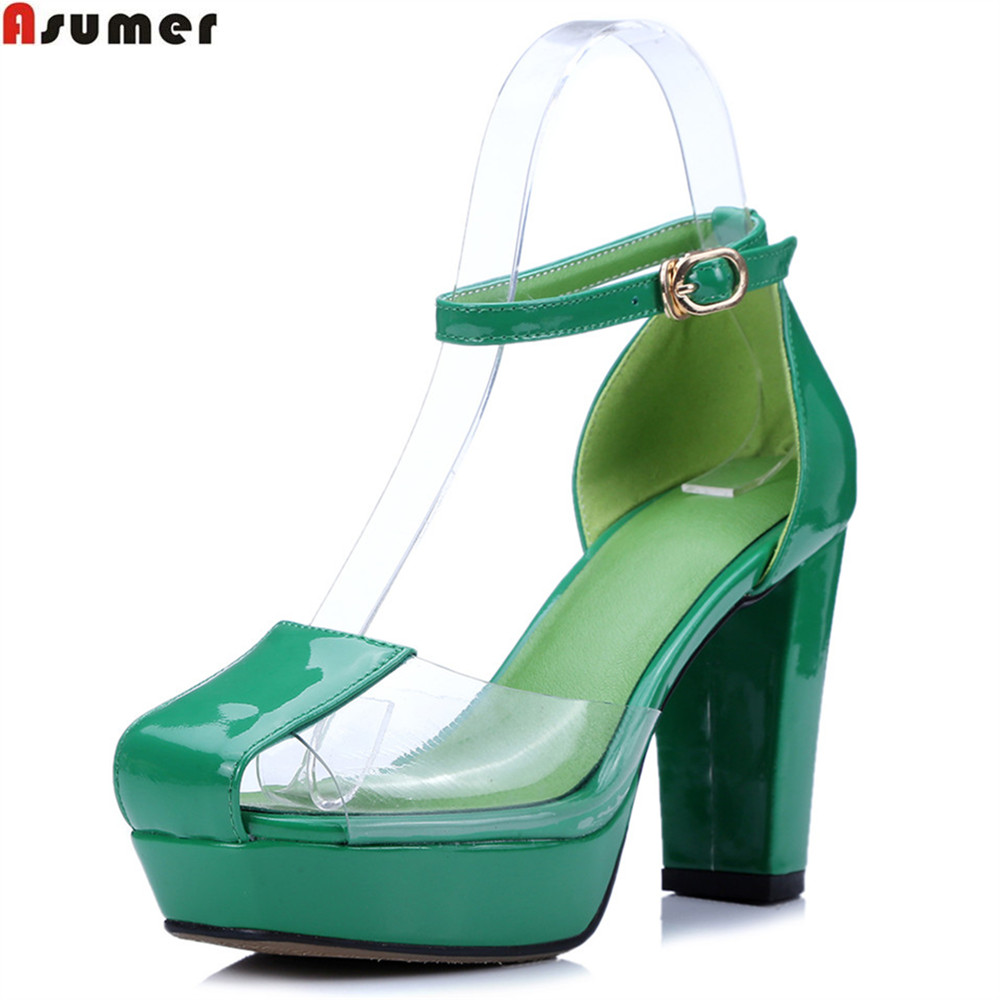 ASUMER white green fashion new women shoes buckle synthetic +genuine leather sandals thick heels summer shoes platform women creepers shoes 2015 summer breathable white gauze hollow platform shoes women fashion sandals x525 50