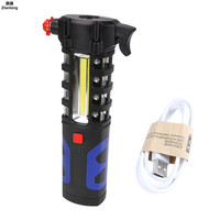 LED Flashlight Car Vehicle Magnetic Safety Escape Rescue Window Breaker Emergency Hammer Tool Magnet COB Torch Lantern Light USB