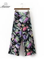 [Aiweier] artı Boyutu kadın Yüksek Bel Gevşek Geniş Bacak Pantolon Baskı Çiçek Pantolon Toptan Kadın Fermuar Bohem Pantolon JL6656