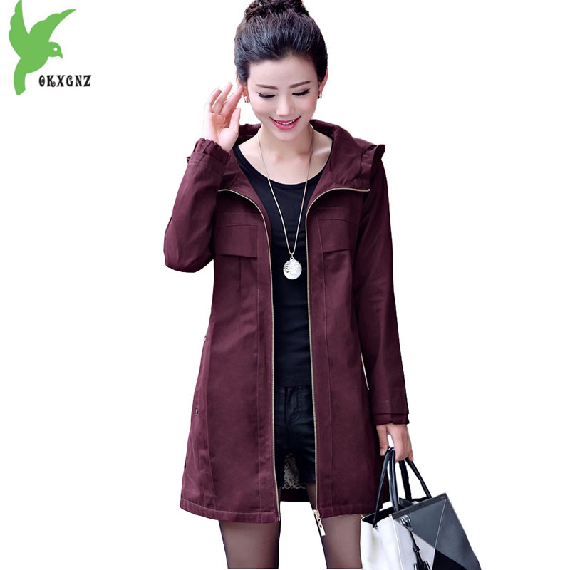 Trench   coat womens 2018 Spring autumn Hooded coat Plus size Slim cotton Windbreaker Medium length female Casual tops OKXGNZ 1897