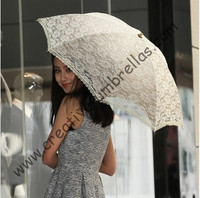 Beige Double Embroidery lace fabric,100%sunscreen,UPF>50+,parasol,8k ribs,hand open,windproof,pricess parasol,cherry,acrylic