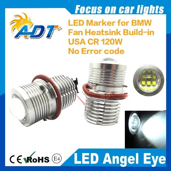 Car Angel Eyes Headlights 120W Cr auto LED marker Xenon White No error code for BMW E87 E39 E60 E61 E63 E64 E65 E66 X3 X5