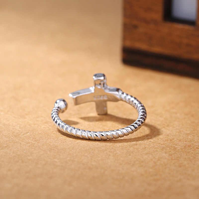 Kiteal 925 เครื่องประดับ Silver คลาสสิกเครื่องประดับผู้หญิงแหวน punk สีดำไวนิลข้าม Twist เงินไทยแหวนผู้ชาย S-R59