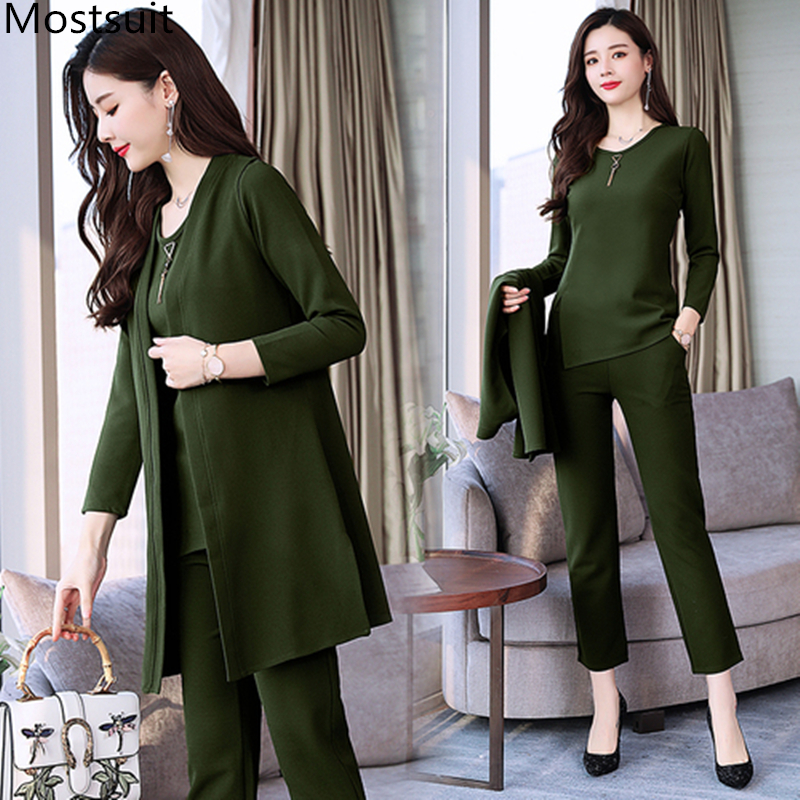 Spring Autumn 3 Piece Set Women Long Coat T shirt And Pants Sets Casual Elegant Three Piece Sets Suits Women's Costumes