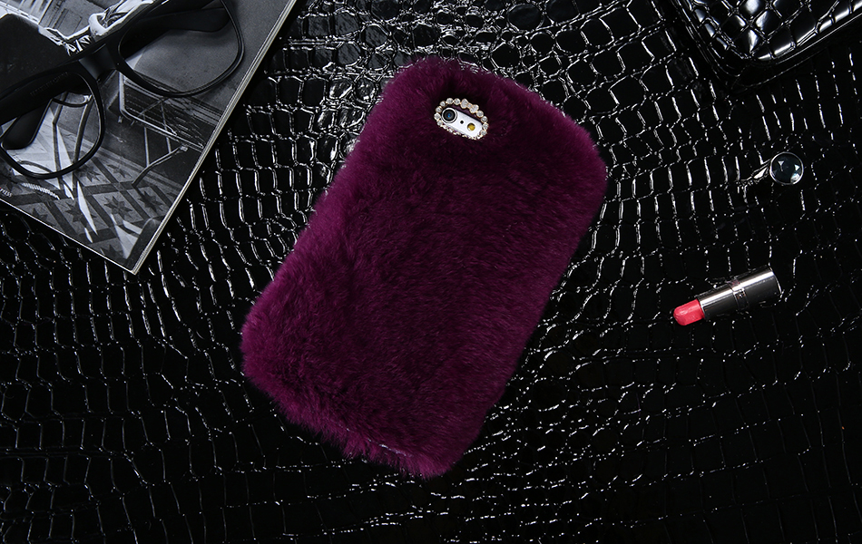 Rhinestone Bling Fluffy Rabbit Hair Case For iPhone 6 6S Plus BOB (1)