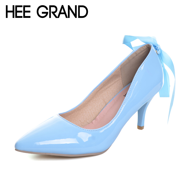 HEE GRAND Elegant Spike High Heels 2017 Summer Lace up Pumps Pointed Toe Patend Leather Wedding Shoes Woman 5 Colors WXG438 [haotian vegetarian] new chinese ming and qing antique copper door handle lock plate 12 zodiac immortals section