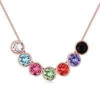 Genuine Crystals From Swarovski Fashion Rainbow Multicolor Round Swarovski Elements Pendant Choker Necklace Women Jewelry Bijoux