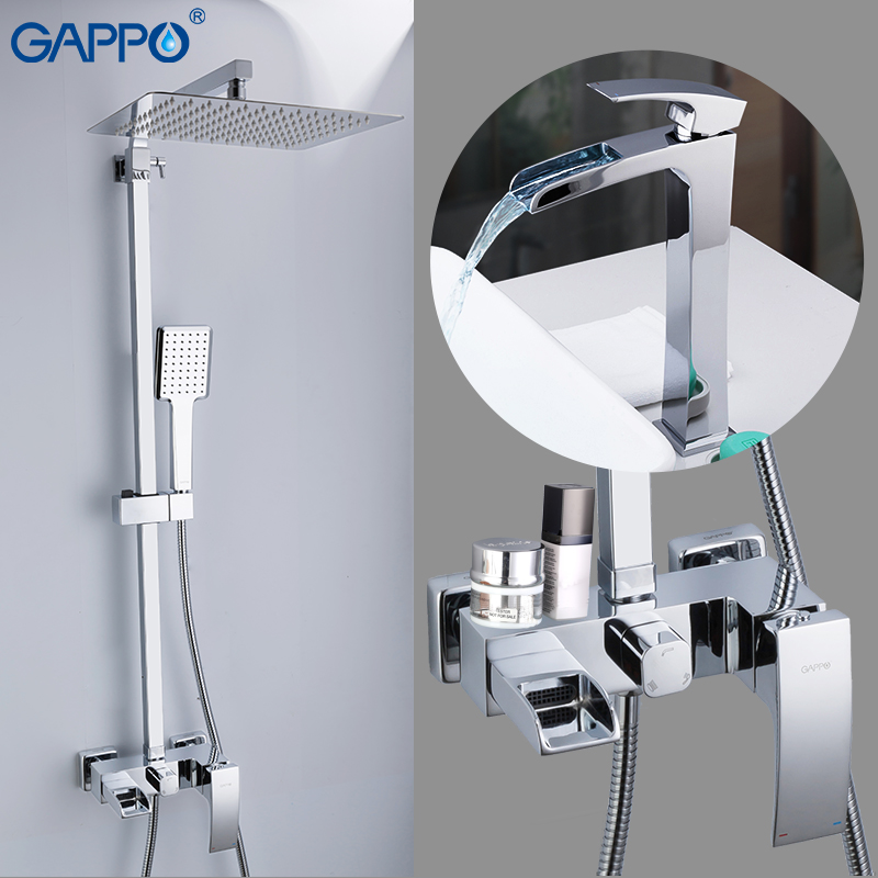 GAPPO Bathtub Faucets shower basin tap chrome brass wall mounted shower sets deck mounted basin sink faucet for bathroom chrome deck faucet package wall mounted