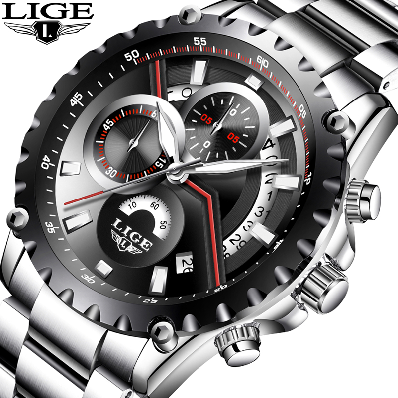 LIGE Men Watches Top Brand Luxury Full Steel Clock Man Sport Quartz Watch Men Casual Business Waterproof Watch Relogio Masculino sinobi men s top luxury brand sport watches men led digital waterproof stainess steel quartz watch man clock relogio masculino