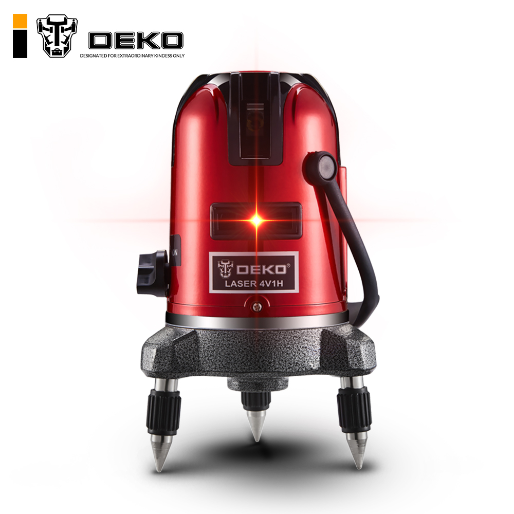 DEKO 5 Lines 6 Points Red Laser Leverl Self Leveling 360 Degrees Multi Mode With BMC